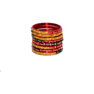 Anu occasionally Multicolor Glass Bangles Set of 8 For Women 2.4 Inch
