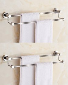 INDISWAN STAINLESS STEEL 2 FEET DOUBLE ROD TOWEL HOLDER (PACK OF 2)
