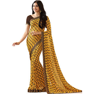 Bollywood Design Yellow Color Georgette Printed Saree