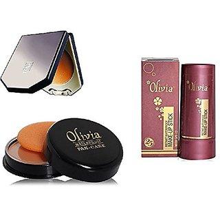 Olivia Natural Glow combo of Make Up stick(TouchGlow-05)+compact(Natural Peach-03)+Pancake (Golden Yellow -21)