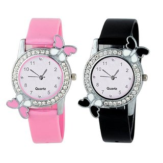 Swadesi Stuff Butterfly diamond studded watch combo of 2 for Gilrs  Women