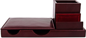 ZINT BROWN PURE LEATHER MULTI COMPARTMENT PEN STAND/HOLDER OFFICE ORGANIZER DESK ACCESSORY