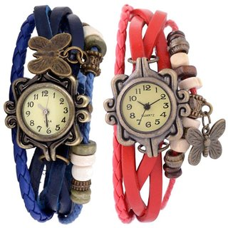 Brosis Deal Multicolour Leather Round Analog Watch Pack of 2