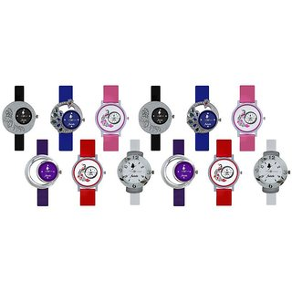 Frida Multicolor Analog Watch - Combo of 12