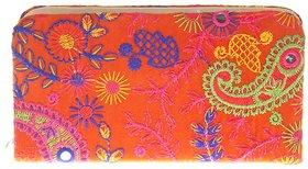 Envie Cloth/Textile/Fabric Embroidered Orange & Multi Zipper Closure Clutch for Women