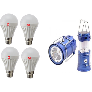 Alpha 7 Watt Pack of 4 Bulb (one year replacement warrant) With Free Solar Rechargeable Lantern