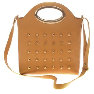 Envie Faux Leather Brown Coloured Zipper Closure Embellished Sling   Bag