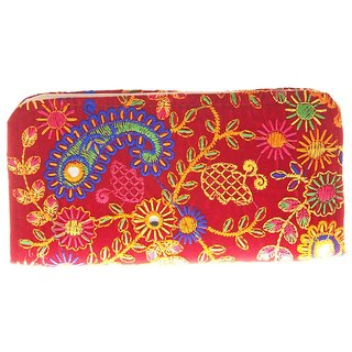 d254183dde70 46%off Envie Cloth Textile Fabric Embroidered Magenta   Multi Zipper  Closure Clutch