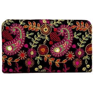 Envie Cloth/Textile/Fabric Embroidered Black & Multi Zipper Closure Clutch