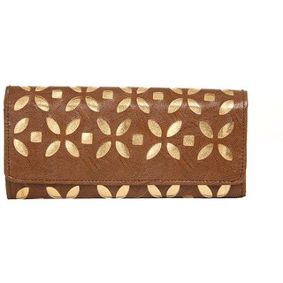 Envie Faux Leather Coffee Brown Embellished Magnetic Snap Closure  Clutch