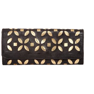 Envie Faux Leather Embellished Black Magnetic Snap Closure Clutch