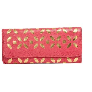 Envie Faux Leather Embellished Pink Magnetic Snap Closure  Clutch