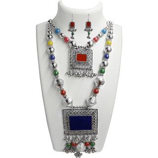 JewelMaze Multicolour Beads Rhodium Plated 2 Layer Navratri Special Necklace Set -1110898