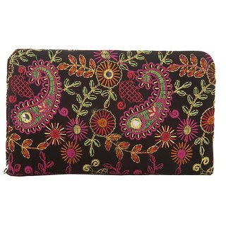 9114316952 47%off Envie Cloth/Textile/Fabric Black & Multi Zipper Closure Embroidered  Clutch