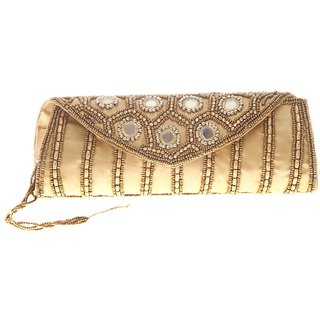 Envie Cloth/Textile/Fabric Embroidered Gold Fold Over Magnetic Snap Clutch
