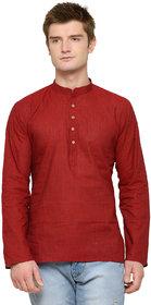 RG Designers Red Plain Short Kurta For Men