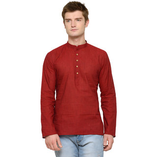 RG Designers Red Plain Short Kurta For Men