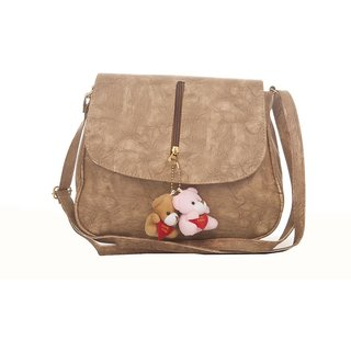 Envie Faux Leather Solid Beige Magnetic Snap Crossbody Bag