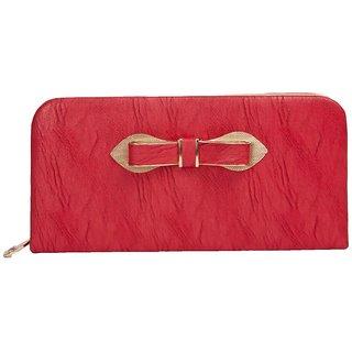 Envie Faux Leather Red Croc Pattern Zipper Closure Clutch for Women