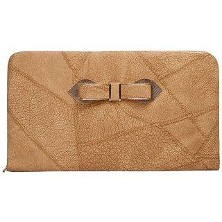 Envie Faux Leather Brown Coloured Zipper Closure Croc Pattern Clutch for Women