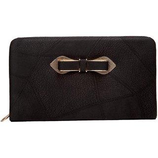 Envie Black Zipper Closure Clutch  for Women