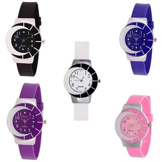Xforia Multicolor Round Girls Watches for Women Combo of 5 (Pink, White, Blue, Purple  Black)