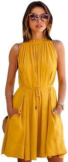 Klick2Style Women's Crepe Yellow Dress