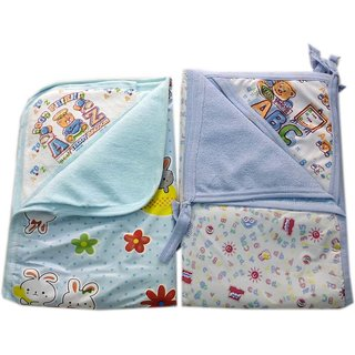 Squnibee New Born Baby Multi-pupose Plastic  PVC Bed Protecting Cum Dipper Changing Mat With Hooded Cotton Towel
