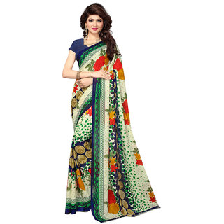 Meia Cream Georgette Floral Saree With Blouse