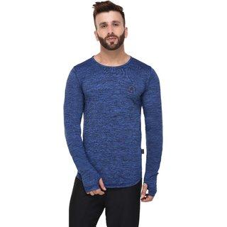 Rigo Royal Blue Poly Grindle Thumbhole Full Sleeve Tshirt for men