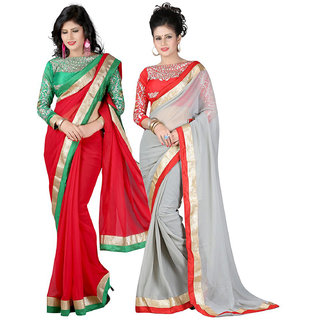 Online Fayda Red  Grey Raw Silk Embroidered Saree With Blouse