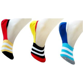 DDH Women Striped No Show Socks  (Pack of 3)