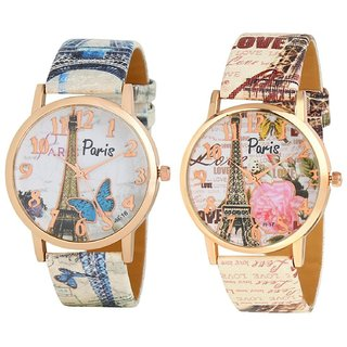 Rjcreation Analogue New Paris collection Multicolor Leather Strap Wrist Watches combo for girls and womens