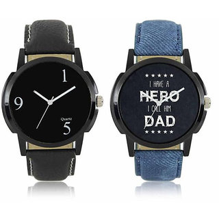 New Black And Blue Leather Belt Analog Best Designing Stylist Combo Lorem Watch For Men Boys