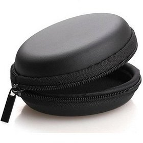 techdeal Leather Zipper Headphone Pouch (Black)