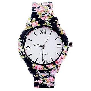 Varni Retail Black Floral Dial With Printed Strap Girls Wrist Watch For Women  BlackFloralMarbelWomenVR
