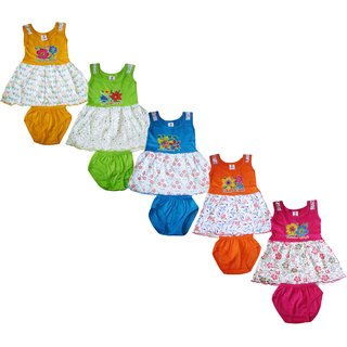 Jisha Fashion Sleeveless Girls Frock Summer edition (ATG110) (Pack of 5)