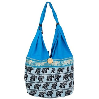 Fashion Bizz Beautiful Rajasthani Printed Blue Shoulder Bag Hand Bag