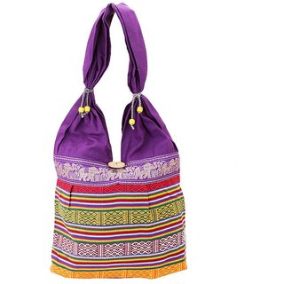 Fashion Bizz Beautiful Rajasthani Purple Shoulder Bag Hand Bag