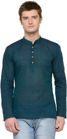 RG Designers Green Blue Plain Full Sleeves Kurta For Men