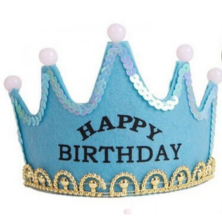 LED Lighting Glowing Happy Birthday Crown Party Crown for birthday 1Pc. Light Blue