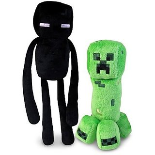 "Official Minecraft Overworld 7"" Creeper & 10"" Enderman Plush SET of 2"