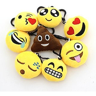 Zicome 2 Inch Mini Emoji Plush Key chains Set of 8