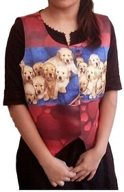 The V3 Shop 3D Printed Multicoloured Polyester Waistcoat for Women