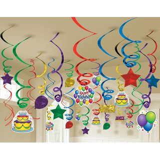 Factory 21 Multi color Swirls pack of 12 /Birthday party decoration/Baby shower etc... All swirls with hanging cutouts l
