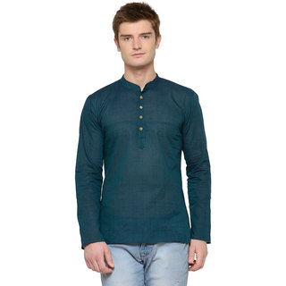 RG Designers Green Blue Plain Full Sleeves Kurta For Men
