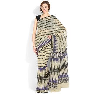 Lookslady Beige & Black Cotton Geometric Saree With Blouse