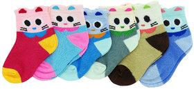 Neska Moda Cotton Ankle Length Multicolor Kids 4 Pair Socks For 0 To 2 Years SK296