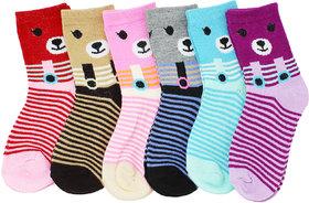 Neska Moda Cotton Ankle Length Multicolor Kids 6 Pair Socks For 3 To 7 Years SK408