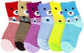 Neska Moda Cotton Ankle Length Multicolor Kids 6 Pair Socks For 7 To 13 Years SK409